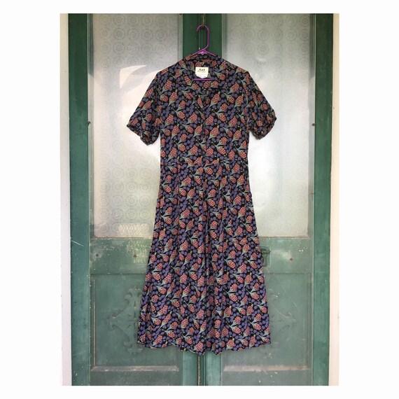 FLAX Engelhart Thinking Tropics 1999 Short-Sleeve Retro Dress -S- Black Raspberry Rayon