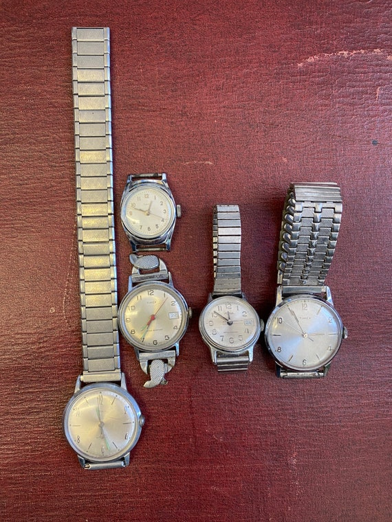 Lot of 5 Vintage Non-Working Timex Watches