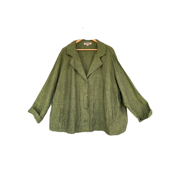 FLAX Designs Jacket -2G/2X- Yarn-Dyed Green Linen