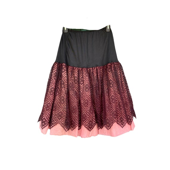 Vintage Koro Black Lace and Pink Petticoat Slip