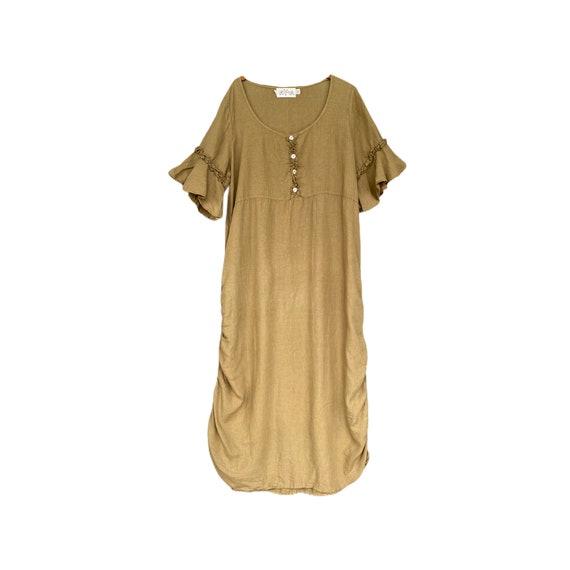 Cachaca Short-Sleeve Linen Empire Waist Dress L- Green