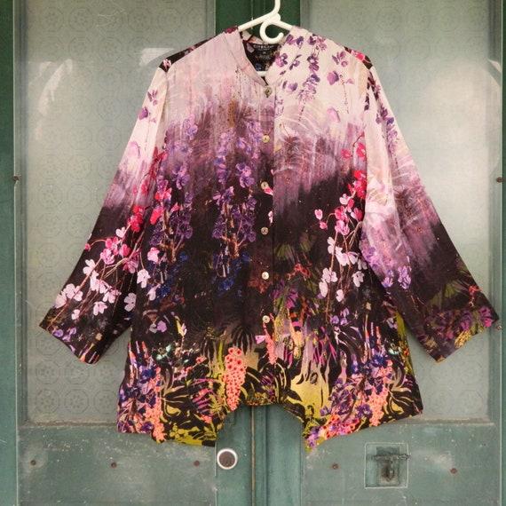 Citron Long-Sleeve Blouse -2X- Purple Floral Silk