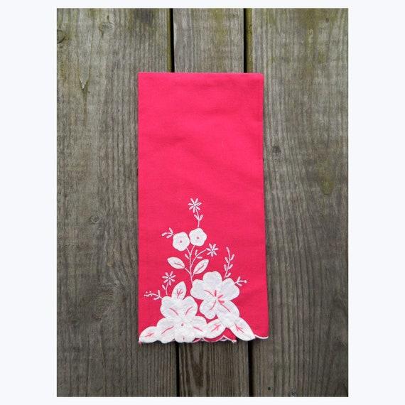 Vintage White Flower Applique on Red Tea Towel