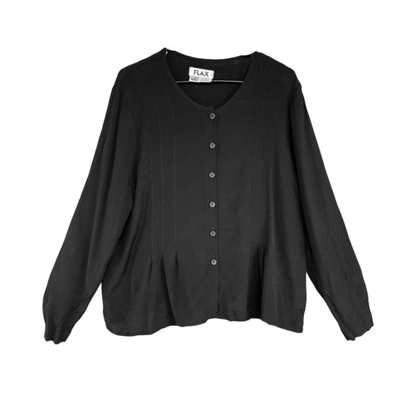 FLAX Peplum Blouse -S- Black Check Rayon/Acetate