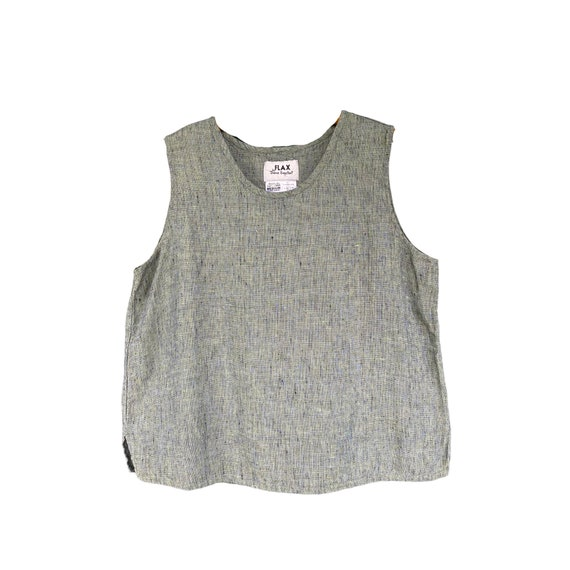 FLAX Engelhart Basic 2002 Tank -M- Yarn-Dyed Aquatic Linen