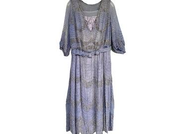 Vintage 1930s Blue Silk Chiffon Beaded Satin-Lined Dress