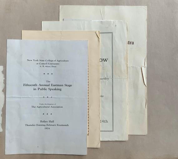 Cornell University 1920s Ephemera Scrapbook Programs Passes
