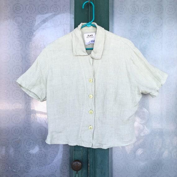 FLAX Basic 2001 Short-Sleeve Pert Shirt -M- Jade Green Linen