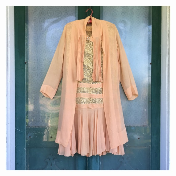 1920s Vintage Flapper Dress & Jacket Outfit Peach Organza