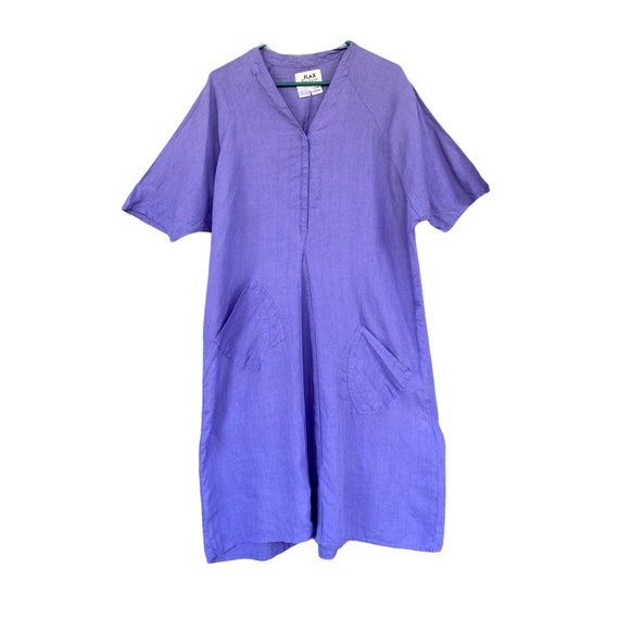 FLAX Engelhart Basic 2001 Knee V Dress -M- Violet Blue Handkerchief Linen