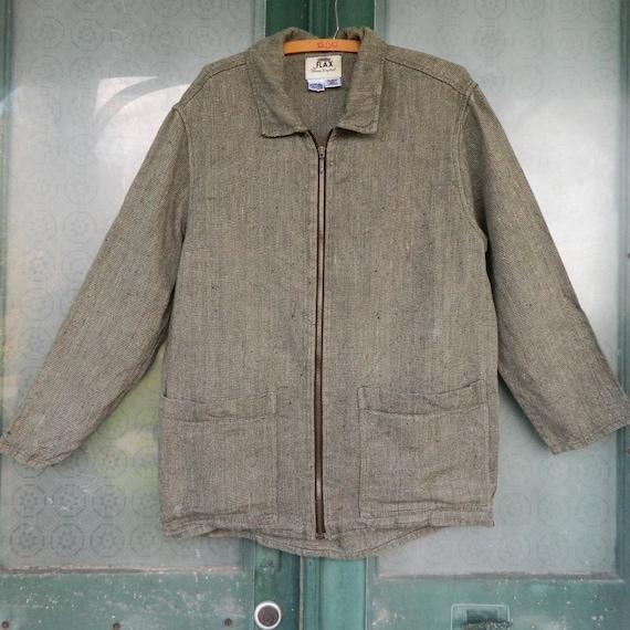 FLAX Engelheart Zip Jacket -P/XS- Yarn-Dyed Green Heavy Weight Linen
