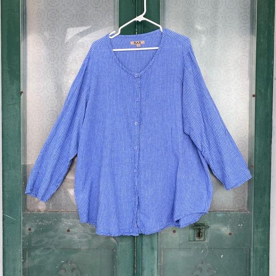 FLAX Long Sleeve Button-Front Tunic -L- Blue Stripe Linen