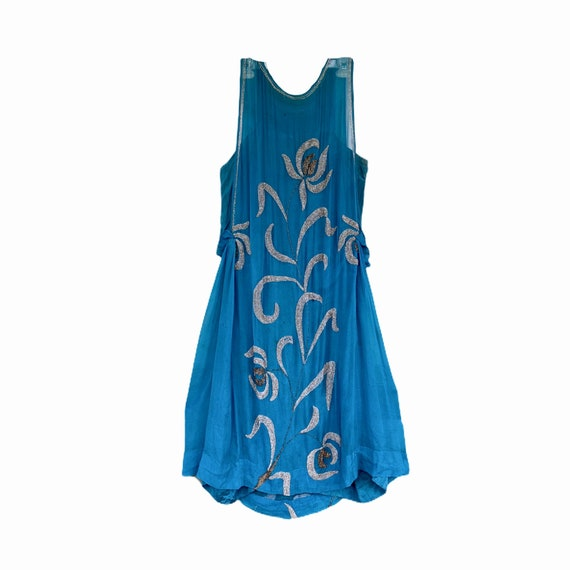 Vintage 1920s Teal Silk Chiffon Beaded Flapper Dress with Slip