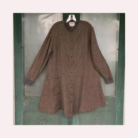 FLAX Engelhart Temperate 1999 Everyday Dress -L- Hedgerow Bark Cloth Linen