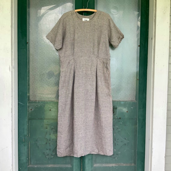 FLAX Engelheart Basic 1998 Fabulous Forties Dress in Black Weave Linen