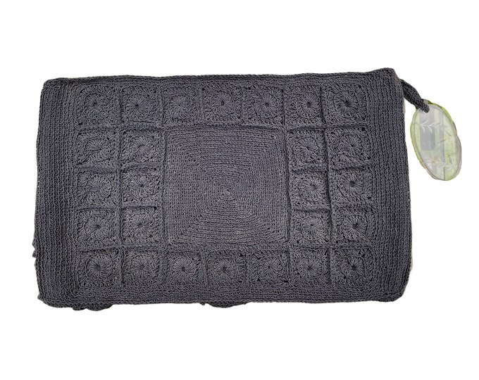 Vintage Black Gimp Corde Crocheted Clutch with Lucite Zipper Fob
