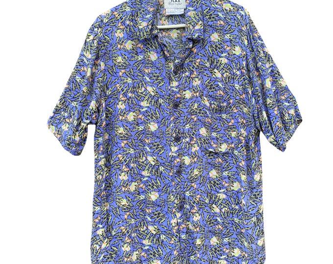 FLAX Engelhart Thinking Tropics 2001 Hawaii Shirt -L- Bright Bees Rayon