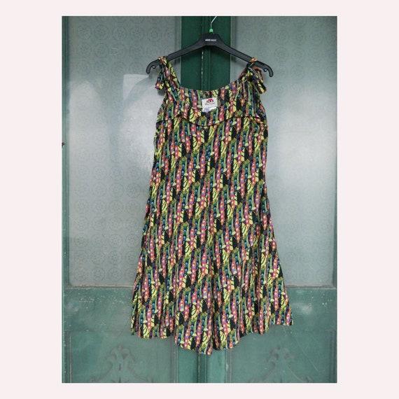 FLAX Engelhart Thinking Tropics Dancing Diamond Dress -M- Painted Peas Rayon