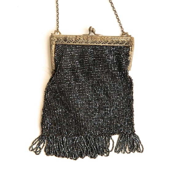 Vintage Black Beaded Bag with Fringe
