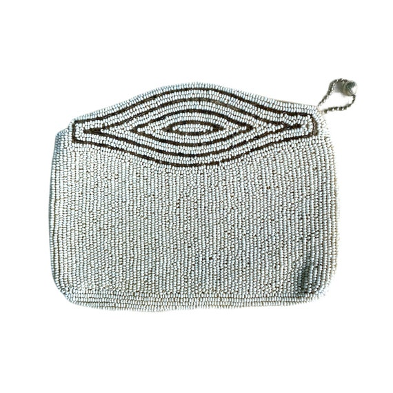 Vintage Zippered White Seed Bead Small Clutch Coin Purse