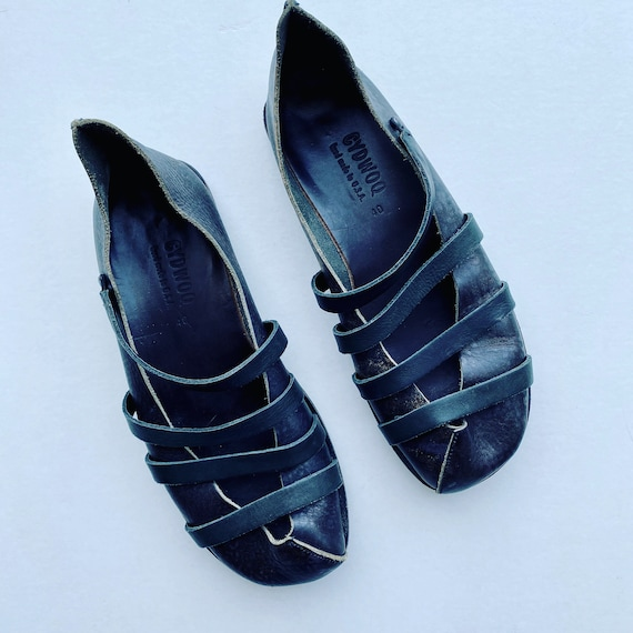 """Cydwoq """"Jail"""" Flats Handmade Shoes Size 40 Brown Leather"""