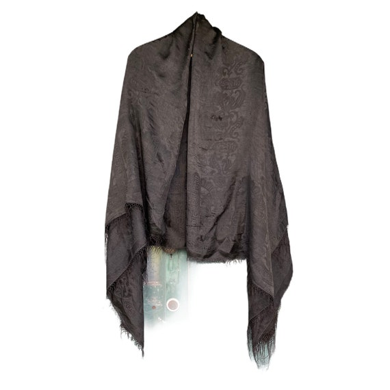 Vintage Black Damask Silk Shawl with Fringe