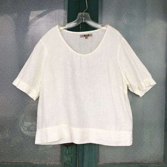 FLAX Short Sleeve Creamy White Linen Tee -L-
