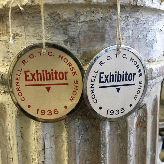 Vintage 1930s Cornell ROTC Horse Shoe Exhibitor Tags