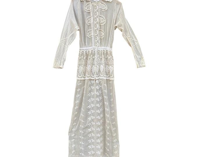 Edwardian Day Dress with Elaborate Satin Stitch Details