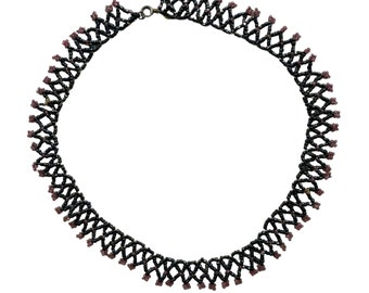 """Vintage 1920s Beaded Choker Necklace 17"""""""