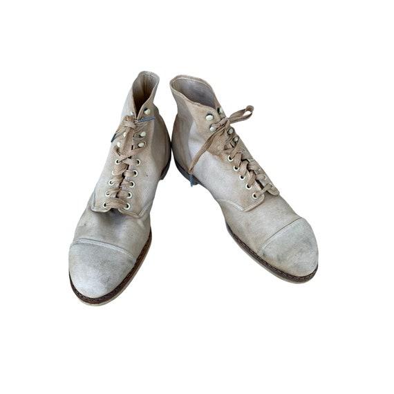 Edwardian Lace Up White Canvas Boots - image 2