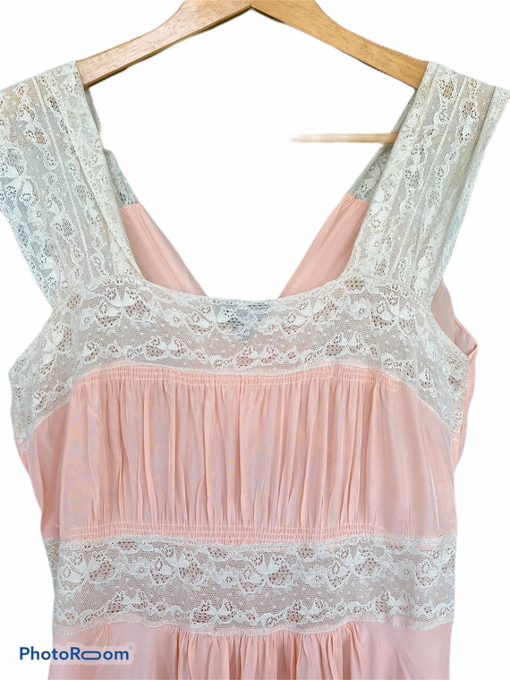 Vintage Long Glamorous Sexy Peachy Silk Night Gown - image 4