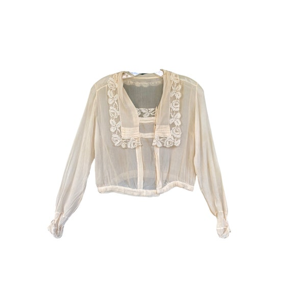 Edwardian Silk Crepe Blouse with Lace Scarf Collar