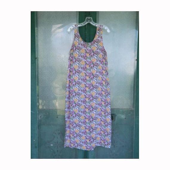 FLAX Engelhart Thinking Tropics 2001 Slipster Dress -S- Lavender Fern Rayon