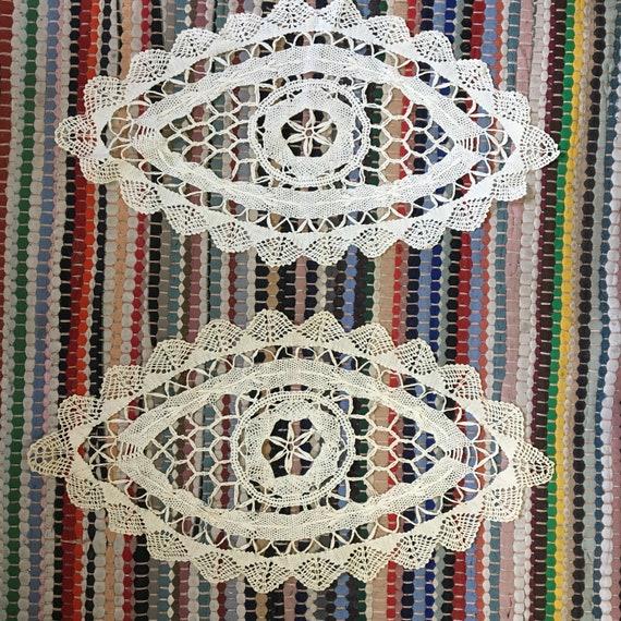 """Pair of Vintage Cotton Eye Doilies 16"""" X 8"""""""