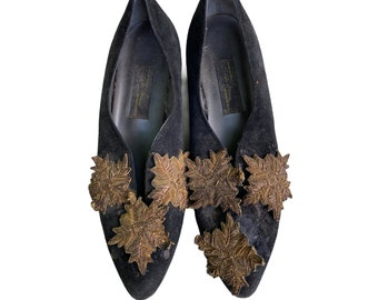 Vintage Sesto Meucci Black Suede Shoes with Gold Soutache Medallions in need of Rehab