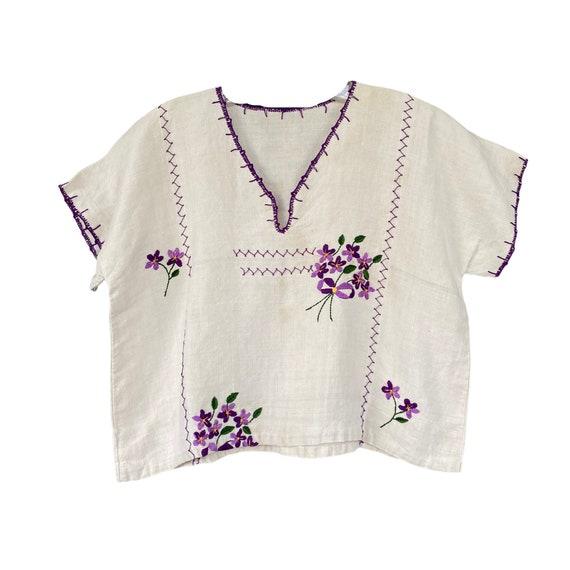 Vintage Linen Pullover V-Neck Embroidered Violets Shirt
