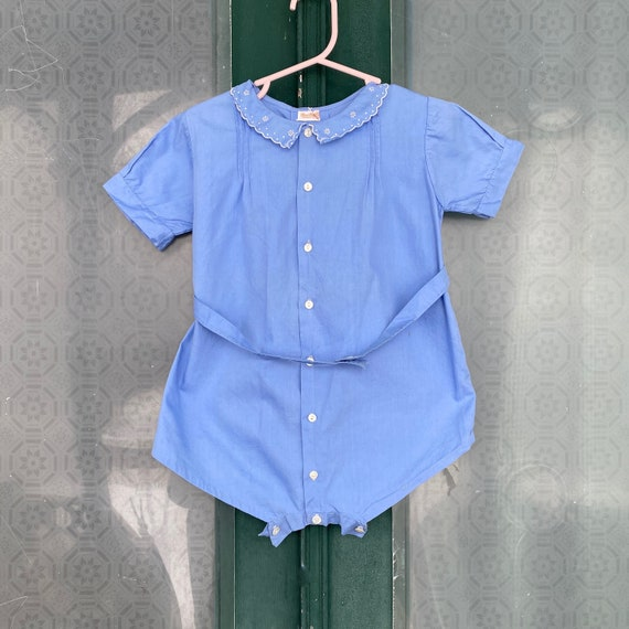 Vintage Child's Cotton Romper with Scalloped Peter Pan Collar
