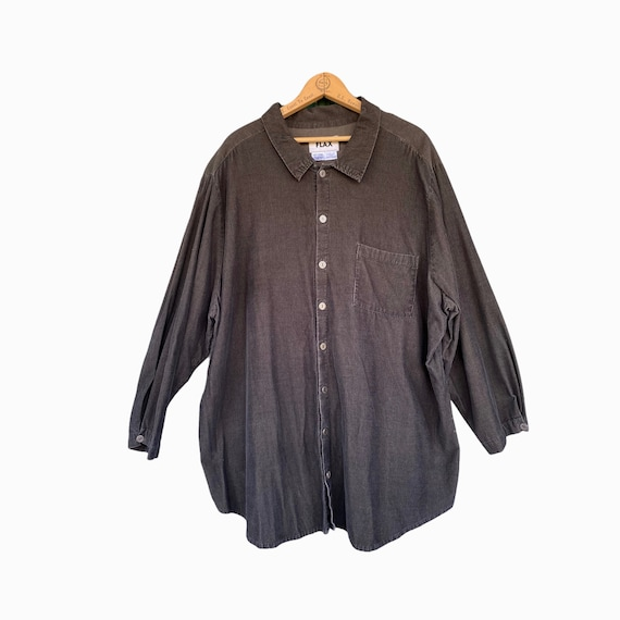 FLAX Fall 2003 Long Sleeve Shirt -1G/1X- Dark Green Cotton Corduroy