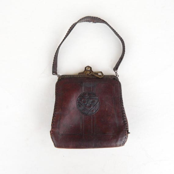 Art Nouveau Hand-Tooled Leather Purse Bag 1900s