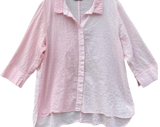 Habitat Pink Stripe Shirt Jacket -XL- Cotton/Spandex