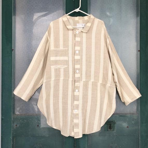 Angelheart Designs Big Smock Shirt -S- Wide Stripe Linen