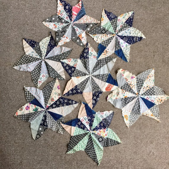 Set of 7 Vintage Diamond Star Quilt Blocks