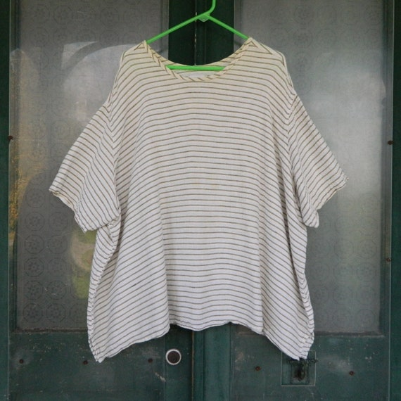 FLAX Engelhart Basic Short-Sleeve Tee -2G/2X- White Stripe Seersucker Linen