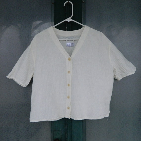 FLAX Engelheart Cropped Top from Flax de Soleil 2000 in Cream Windowpanes Linen