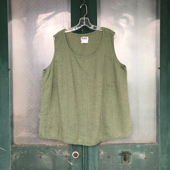 FLAX Engelhart Tank -3G/3X- Green Medium Weight Linen