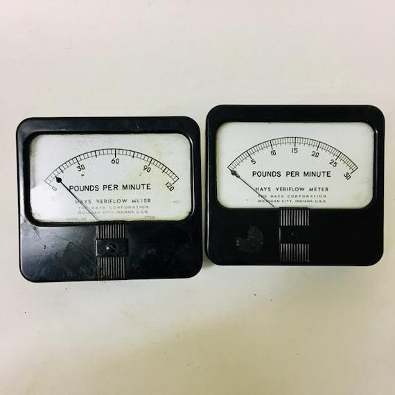 Pair of Vintage Hays Veriflow Meters
