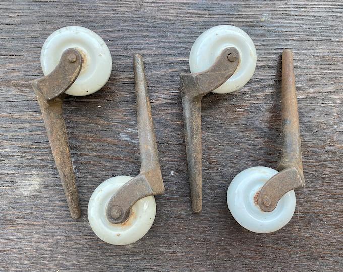 Picturesque Set of 4 Porcelain Casters Wheels