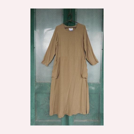 FLAX Engelhart Cinderella's Sweep Dress -S- Fawn Brown Rayon