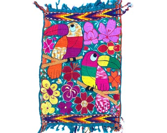 Vintage Bright Satin Stitch Tropical Toucan Tapestry